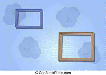 blue  background with two simple wooden frames