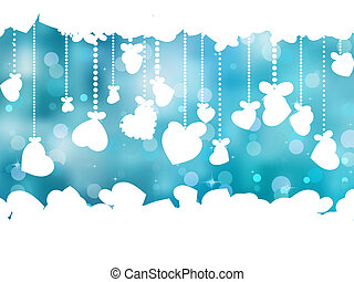 Blue background with valentine hearts. EPS 8
