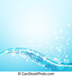blue background with waves, lights and butterflies