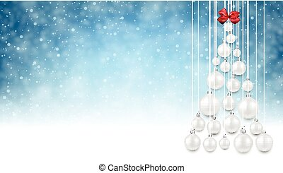 Blue background with white Christmas tree.