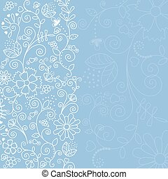 Blue background with white plants