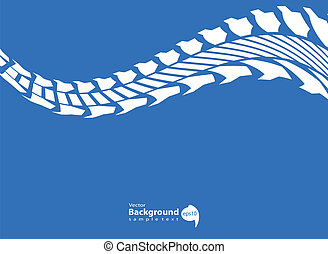 blue background with white tire track design