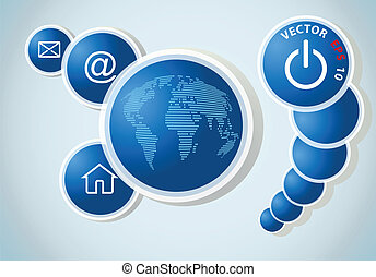 blue background with World map, vector