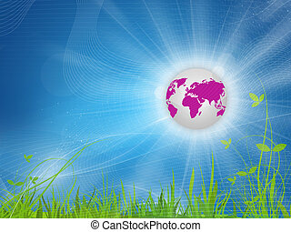 Blue background,plant, pink Earth