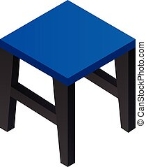 Blue backless chair icon, isometric style