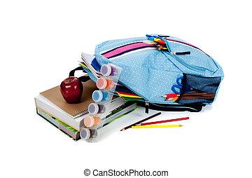 Blue backpack full of supplies on white