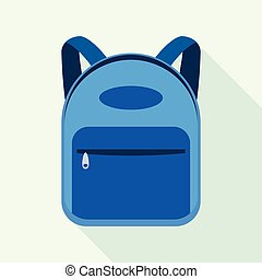 Blue backpack icon, flat style