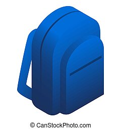 Blue backpack icon, isometric style