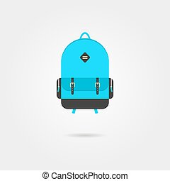 blue backpack icon with shadow
