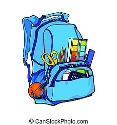 Blue backpack packed with school items, supplies, stationary...