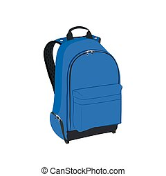 blue backpack, vector illustration