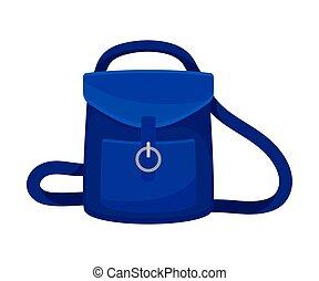 Blue backpack. Vector illustration on a white background.