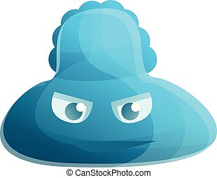 Blue bacteria icon, cartoon style