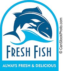 Blue badge of salmon in wave with text Fresh Fish