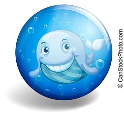 Blue badge with happy whale