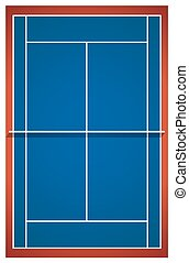 Blue badminton court layout illustration