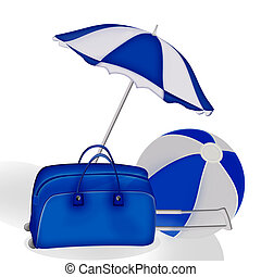 Blue bag, ball and umbrella on a white background.
