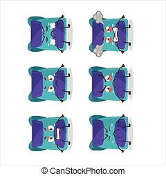 Blue bag cartoon character with various angry expressions