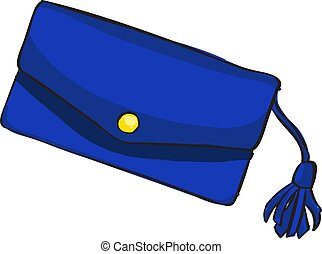 Blue bag, illustration, vector on white background.