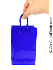blue bag with hand isolated on white