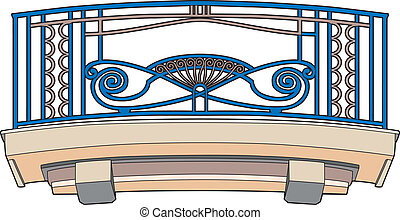 Blue balcony - Vector illustration of an architectural...
