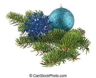 blue ball and blue snowflake with branch of Christmas tree isolated on white background