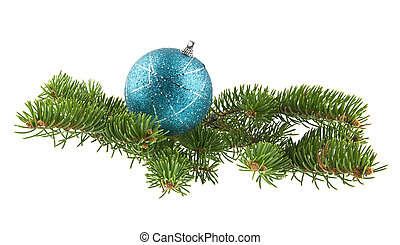 blue ball and branch of Christmas tree isolated on white background