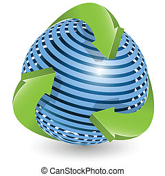 blue ball and green arrows