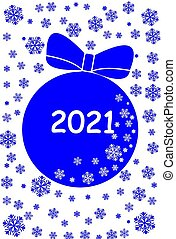 blue ball and snowflakes on white background