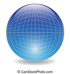 Blue ball - Illustration of a blue ball on a white...