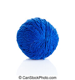 Blue Ball of knitting yarn on a white background