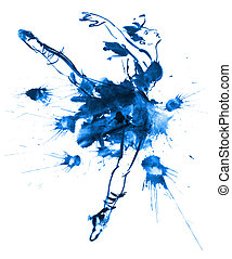 Blue ballerina, drawing gouache
