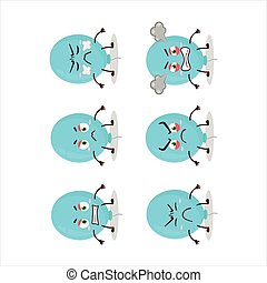 Blue balloon cartoon character with various angry expressions