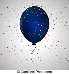 blue balloon confetti  white background