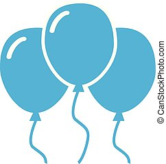 blue balloon icon on white background.