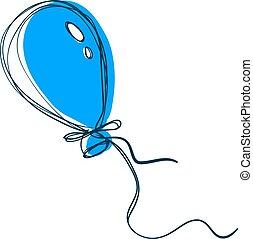 Blue balloon, illustration, vector on white background.