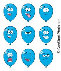 Blue Balloons Cartoon Mascot Character With Expressions. Collection Set