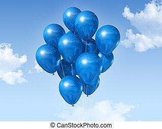 blue balloons on a blue sky