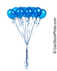 blue balloons on a white