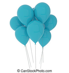 blue balloons on isolated white in 3D illustration