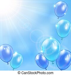 Blue balloons on sky background