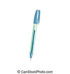 Blue ballpoint pen, office tool cartoon vector Illustration