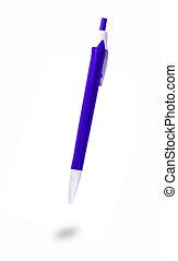 Blue ballpoint pen on white background.