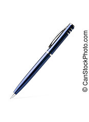 blue ballpoint pen isolated on white background with...