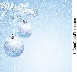 blue balls - Blue christmas balls hanging from fir-tree...