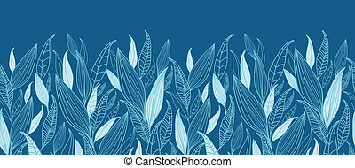 Blue Bamboo Leaves Horizontal Seamless Pattern Border