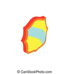 Blue band shield icon, isometric 3d style