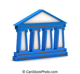 blue bank icon on a white background