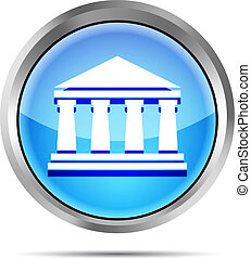 blue bank icon on a white backgroun