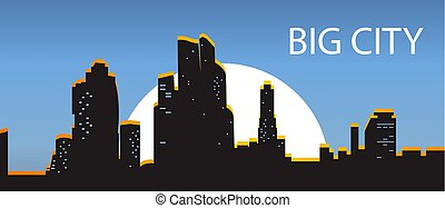 Blue Banner big city. Night city illuminated by the sun on a dar